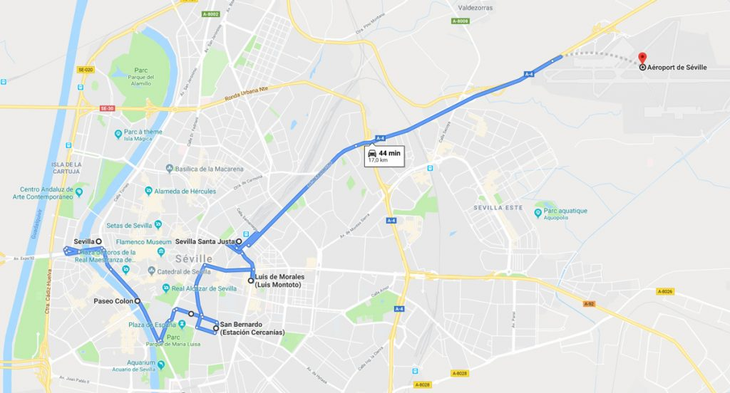 trajet bus aeroport seville